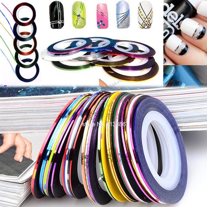 2014 New 30Pcs Mixed Colors Nail Rolls Striping Tape Line DIY Nail Art Tips Decoration Sticker Nails Care b4 19817(China (Mainland))