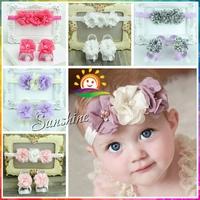 Sandalia baby sandals toddler baby shoes girls diamond beaded barefoot sandals set;flower Headband set,diamond #2B1963 5 set/lot