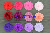 "free shipping 120pcs/lot  32colors  2.5""shabby chiffon rose ,chiffon frayed rosette flowers,hair accessories You Choose Colors"