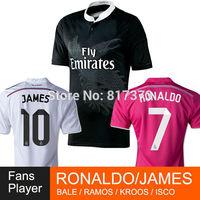 Real Madrid black dragon JAMES 14/15 Soccer jersey CHACHIRITO 2015 real madrid white pink RONALDO KROOS BALE SERGIO MAROS jersey