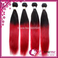 Forawme Hair brazilian hair straight hair 1b red ombre hair weaves mixed lengths 3 or 4 pcs lot two tone hair extension