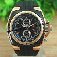 100pcs/lot,Vogue V6 Strips Hour Marks Round Dial Golden Case Quartz Hours Watches Silicone fashion Watch Men luxury wristwatches