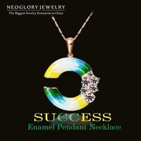 Neoglory Austria Rhinestone Rose Gold Plated Stoving Varnish C Pendant Necklace For Women New 2014 Fashion Enamel Paint