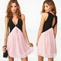 Hot! Plus Size 2014 New Sexy Deep V Neck Dress Fashion Women Hollow Out Back Sleeveless Chiffon Mini Summer Dress b014 19787