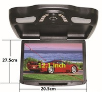 11'' Car Overhead DVD Player Monitor,Built-In Two Dome Lights,Analog TV,IR,MP3/MP4,USB,Roof Mount Flip down Monitor,800x480p