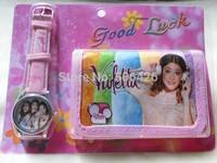 new High quality Free shipping 1pcs violetta watch, cartoon kids Set watchs Wristwatch and wallet purse,best gift