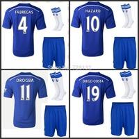 Top Quality Free Custom 14/15 Chelsea Home Soccer Jersey Football Kit +match socks Fabregas Oscar Eden Hazard Drogba Diego Costa
