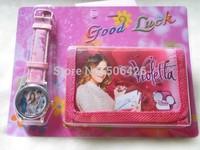 Hot ! children's wallet+watch sets violetta cartoon kids part Set watch Wristwatch and wallet purse 10pcs/lot