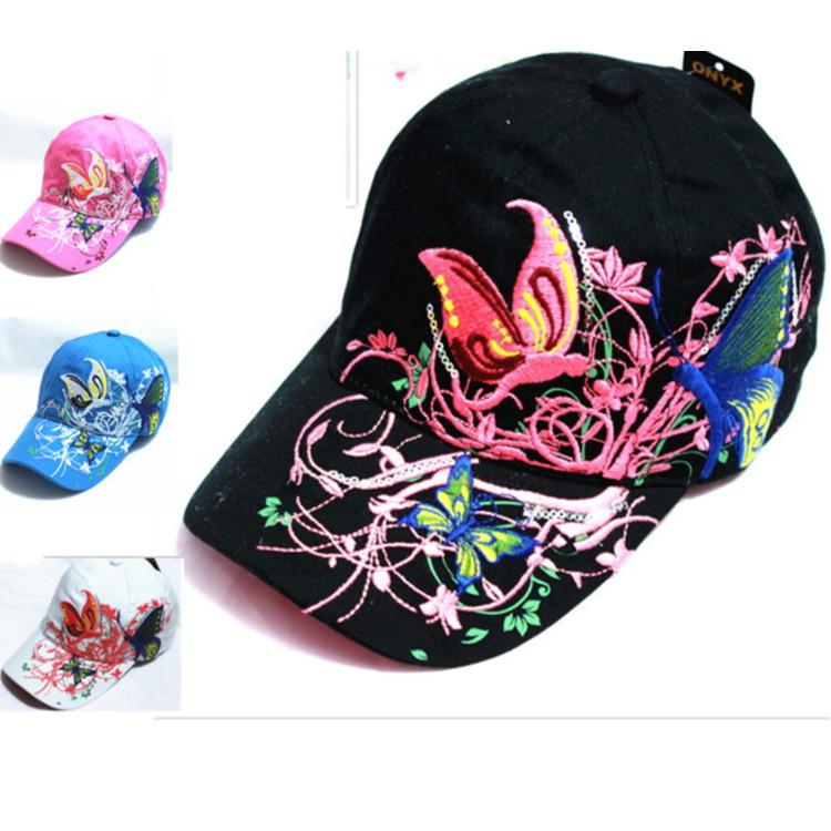 de haute qualité cap casquette de baseball papillons et de fleurs de coton à broder casquettes de sport occasionnel bouchon snapback chapeaux de mode pour les femmes