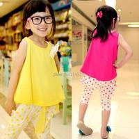 Retail New 2014 childrens Girls clothing set child flower vest polka dot harem pants twinset Dropshipping b11 SV001021