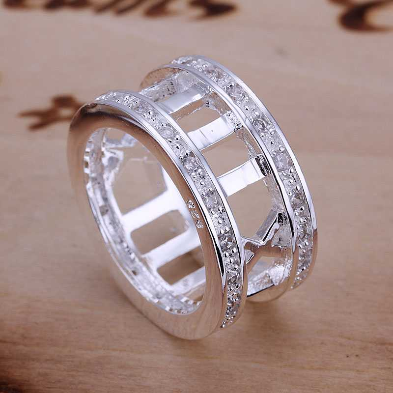 free shipping 925 silver Fashion Jewelry Inlaid Stone Roman silver plated wedding ring for women SMTR002