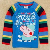 Spring Autumn Peppa Pig children full length t shirt children nova kids boys t shirt cartoon Peppa pig clothing free shipping