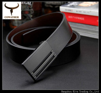 good quality men cowskin genuine leather color starp male belts for men belt,cinto masculino metal plate buckle free shipping