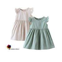 New Children Clothing Summer Fashion Girls Flare Sleeve Plaid Cotton Dress Good Quality Recommended  Dress