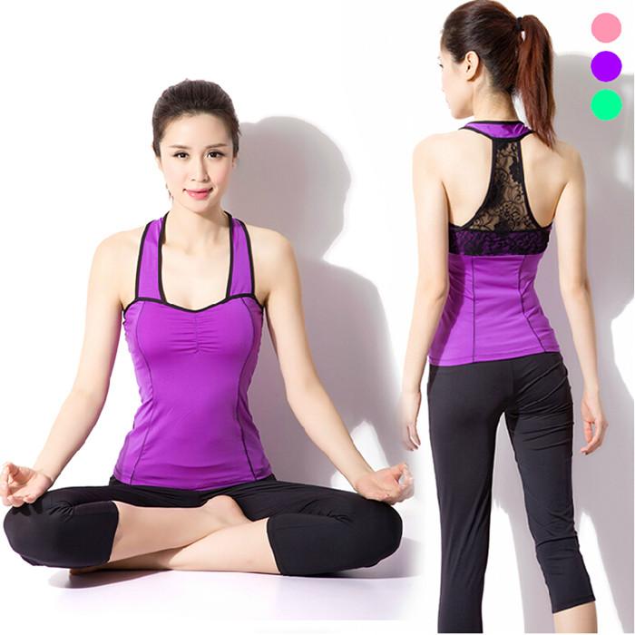 Para hacer ejercicio deportes pantalones superiores de ropa de encaje