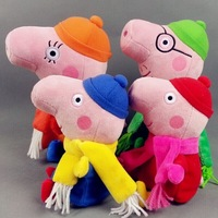 Newest 4pcs/lot Winter Peppa Pig Family Plush Toys Clothing with Coats and scarf  Pepa George Pig Soft Dolls Kid Christmas Gifts