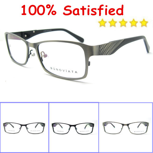 free shipping hot sale 2014 new arrival women stainless steel glasses frames men top fashion solid black eyeglasses retail P1169(China (Mainland))