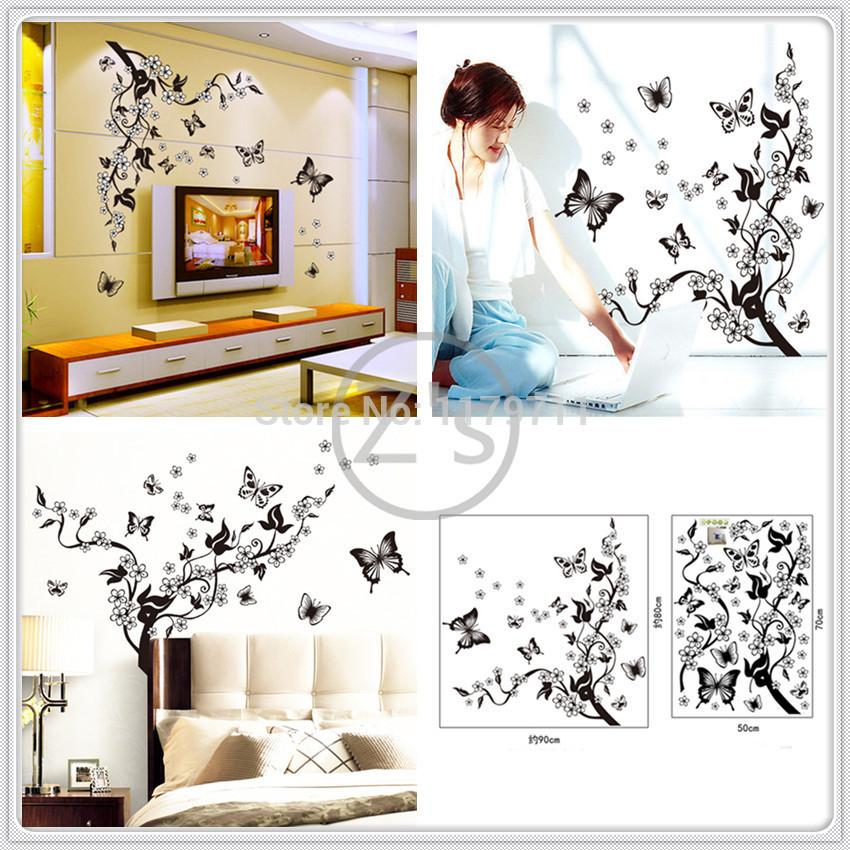 Borboleta flores pretas flor vine adesivos de parede home decor diy adesivo mural art imagem poster vinil removível AY7005(China (Mainland))
