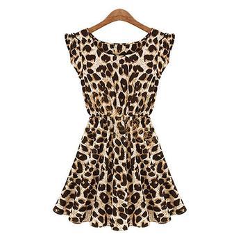 2014 бренд дамы летнее платье о-образным вырезом леопарда печать платье мини свободного покроя сарафан негабаритных бесплатная доставка 50