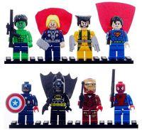 8pcs Super Heroes Avengers Iron Man Hulk Batman Wolverine Thor Spider-Man Building Blocks Minifigures children Toys