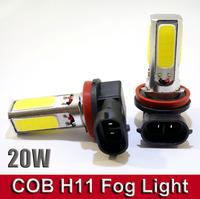 2 X COB LED H11High Power Fog DRL 20W COB LED Car LED Day Driving Head Bulb Light Lamp 12V LAMPADE Xenon White