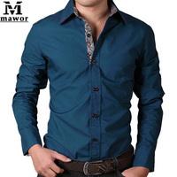 New 2014 Mens Dress Shirt Cotton Casual Men Long-sleeved Shirts Slim Fit Spring Autumn Men's Clothing