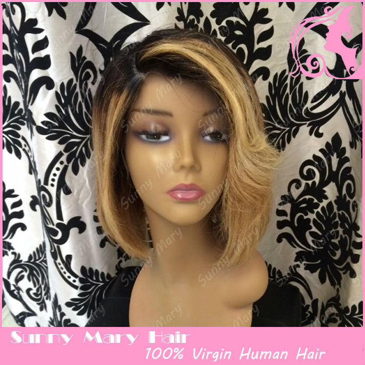 wigs short synthetic hair wigs bleached knots lace front wig for black ...