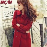 SWF001 Women Coat Fashion Warm Coat Free Shipping Winter Long Turn-Down Button Slim Wool Outerwear Female Overcoat
