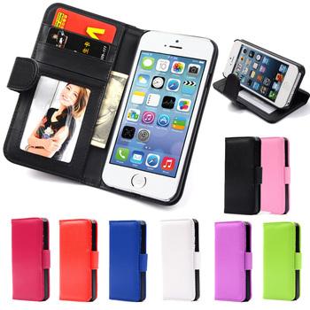 Горячая бумажник флип PU кожаный чехол для Apple , iPhone 4 4S 4 г магнитный чехол с фоторамка карты держатель сумки кожи крышка