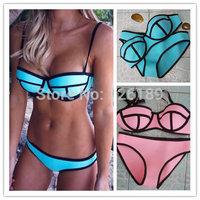 2014 Women's Fashion Push Up Neon Triangle MILLY Neoprene Bikini neoprene Swimwears Neoprene Swimsuit Bikini Set S-XL 2241