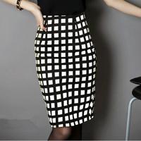 Hot Sale 2014 Summer Women Slim Hip Career Plaid Short Skirts Ladies Sexy High Waist Knee-Length Pencil Skirt OL saias femininas