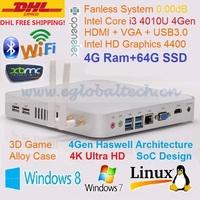 Fanless Mini PC HTPC Game Computer 4G DDR3L 64G SSD Intel Core i3 4010U Haswell Design 4K HD XBMC Linux Windows DHL FreeShipping