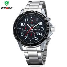 Lujo WEIDE Mens cuarzo relojes relojes militares impermeables reloj deportivo de acero lleno calendario completo moda de vestir de negocios