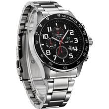 Luxury WEIDE Mens Quartz Watches Waterproof Military Sports Watch Full Steel Complete Calendar Fashion Business Dress