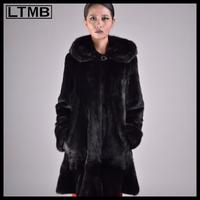 LTMB 2014 design genuine Chinese mink fur coat with fur hood for women Black mink fur coat for ladies