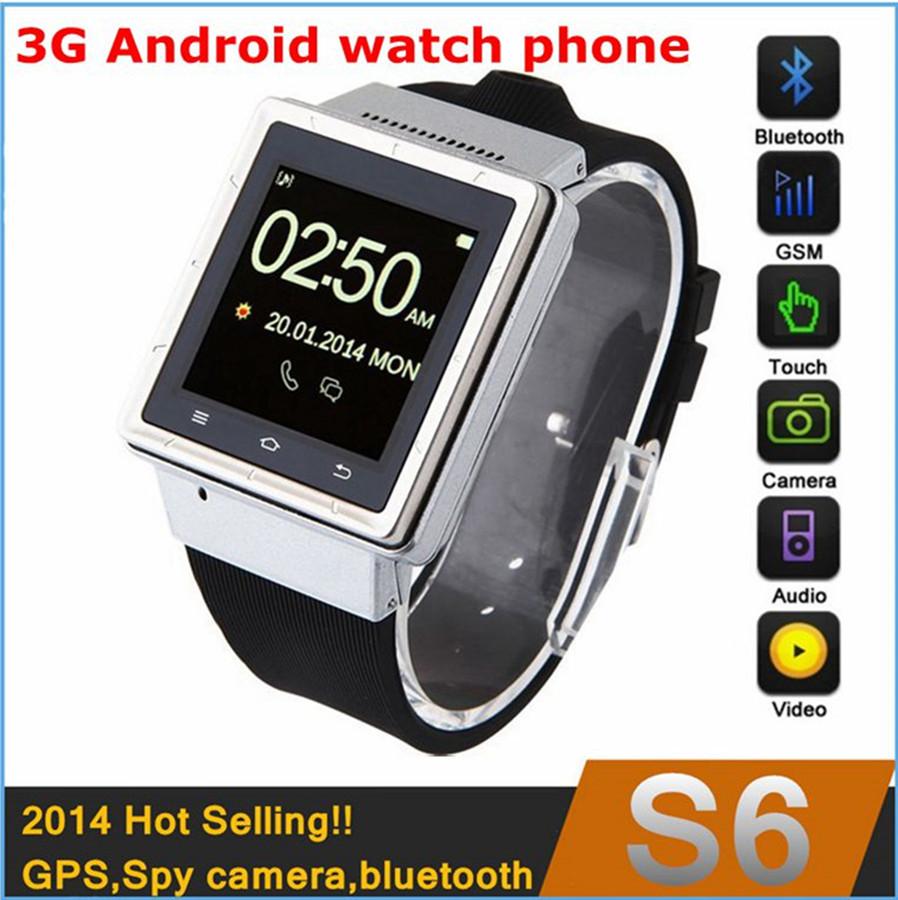 2014 smart 3G Android watch phone WIFI ZGPAX S6,MTK6577 dual core,512MB RAM 4GB ROM, 2Mp camera,GPS,bluetooth 3.0,free shipping!(China (Mainland))