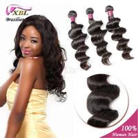 Brazilian Virgin Hair Loose Wave Natural Black 100% Unprocessed Human Hair Extension 3 pcs/lot XBL Hair Products Cabelo Humano