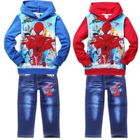 spiderman new fashion children clothing set princess girls baby kids hoodies jeans clothes suit,retail jacket pant