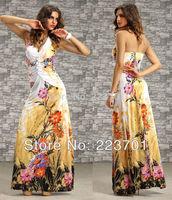 New Arrive Fashion Sleeveless Halter Neck Ladies Long Maxi Dress Summer Beach Dresses For Women