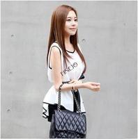 Top Sale! 2014 New Fashion Women Blouse Tops Irregular Sleeveless Chiffon Shirt Peplum summer Dress With Belt b4 SV002682