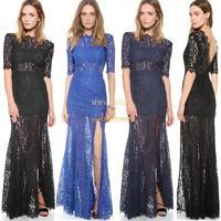 New 2014 lace formal evening dress hot&sexy women lace long backless dress vestidos de fiesta gowns Cocktail dress #10 SV004013