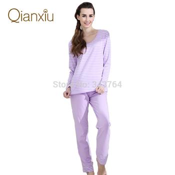 Qianxiu марка пижамы хлопка классические полосы о-образным вырезом женщин салон одежда ...