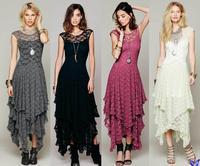 Vestido De Renda New 2015 Women Clothes Sexy Hollow Lace Crochet Irregular Hem Casual Dress Gypsy People Vestido De Festa