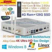 Mini Computer Thin Client Fanless PC Intel Core i5 4200U 4GB DDR3 128GB SSD Haswell Full 4K HD 3D Game DHL Free Shipping HTPC
