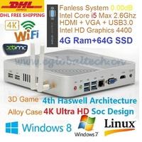 DHL Free Shipping HTPC Windows Linux XBMC 4K Ultra HD Haswell Intel Core i5 4200U 4GB DDR3 64GB SSD Thin Client MINI PC Computer