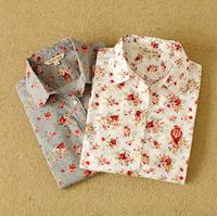 Autumn Fashion women work wear vintage floral print cotton blouse long sleeve elegant Shirts casual slim tops S-XL