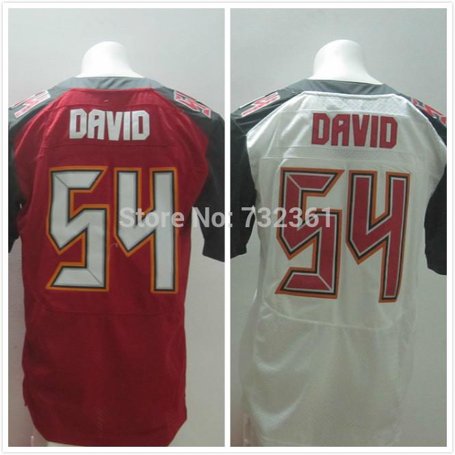 Envío gratis 2014 nuevo proyecto de tampa bay #54 lavonte david camisetas de color rojo y blanco cosido de élite de los hombres de jerseys de fútbol americano 40-60