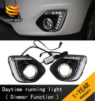 Upgrade ! Dimmer function and Waterproof  9 LED DRL Daytime running lights for Mitsubishi ASX 2013 2014 with fog lamp hole