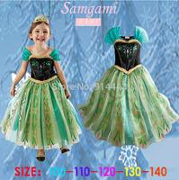 Hot! 1pcs New 2015 Summer Brand 3-8Yrs Girls Party Princess Cotton Dress Anna&Elsa Lace Baby Dress Kids Wear