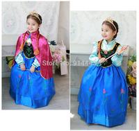 1PCS,new 2014 Frozen dress Elsa & Anna dress, girls dresses + red cloak, Anna costume baby & kids clothing, performance costume